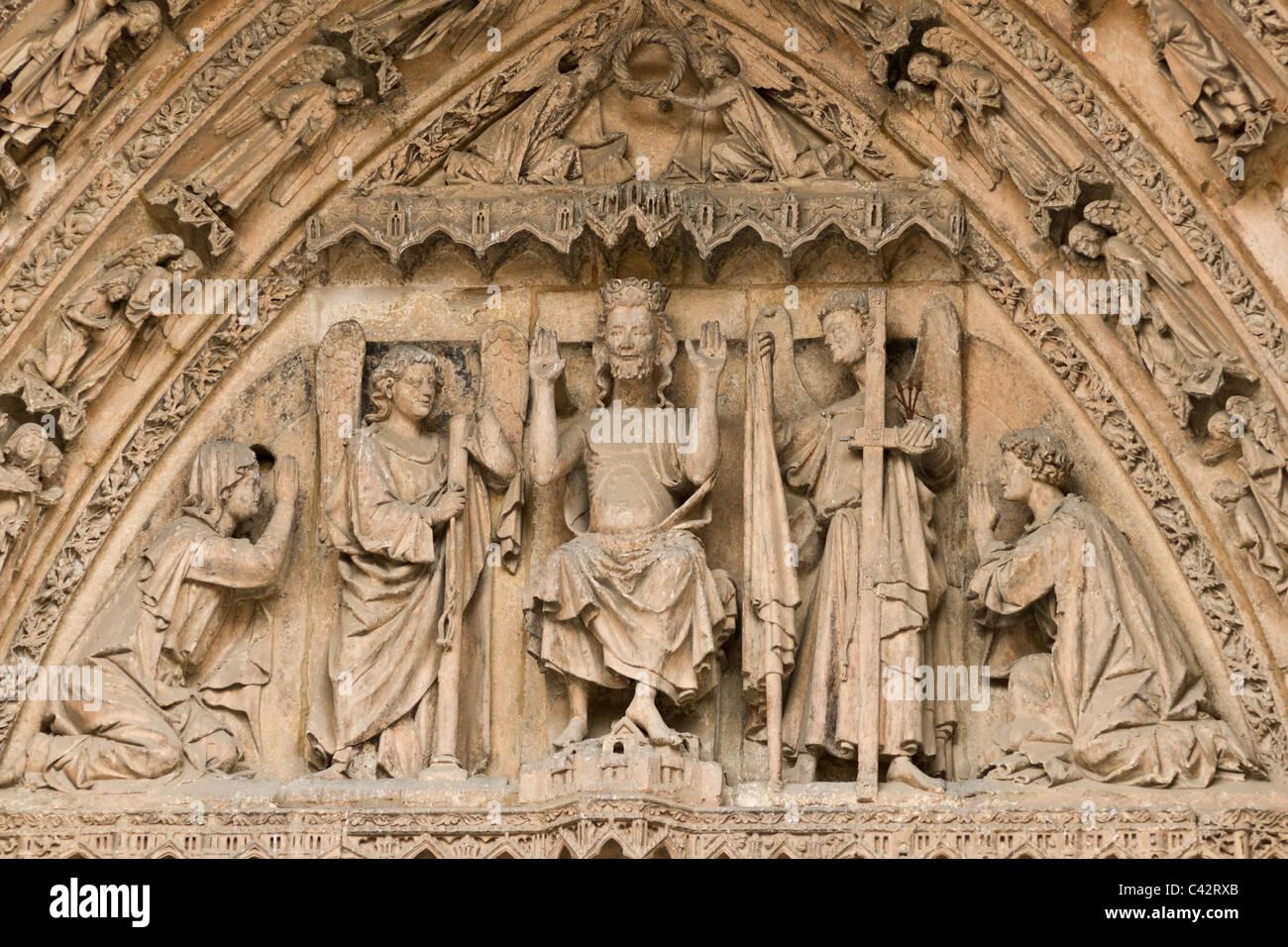 Tympanum of Pórtico de Neustra Señora La Blanca of Cathedral of Santa María de León. León, - Stock Image