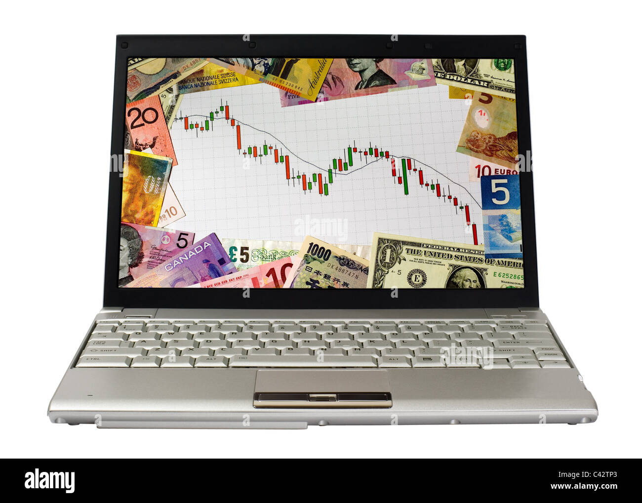 Laptop showing candlestick chart of a bear market surrounded by currencies of various countries - Stock Image