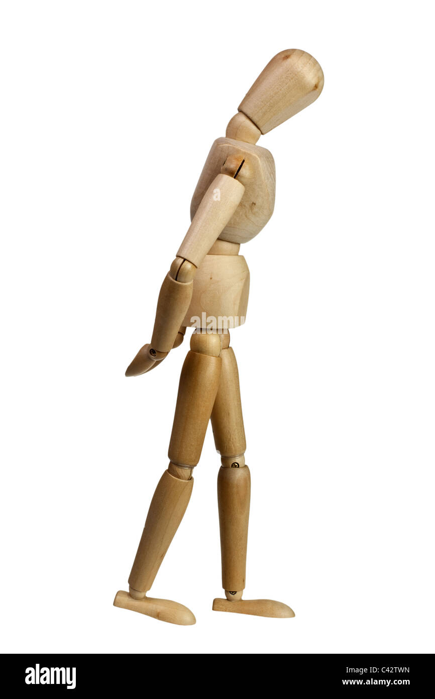 wooden mannequin strolling hands behind back and head down isolated