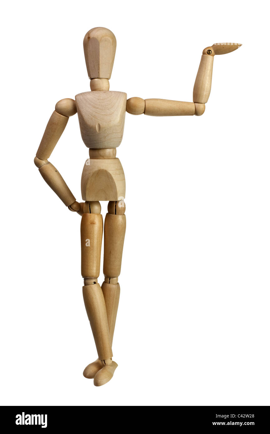 Wooden mannequin using one hand to support isolated on white background - Stock Image