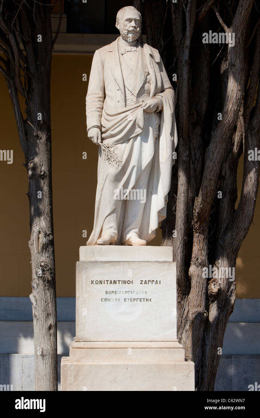 Statue of the Greek entrepreneur Konstantinos Zappas (1814-1892) in front of the Zappeion in Athens, Greece - Stock Image