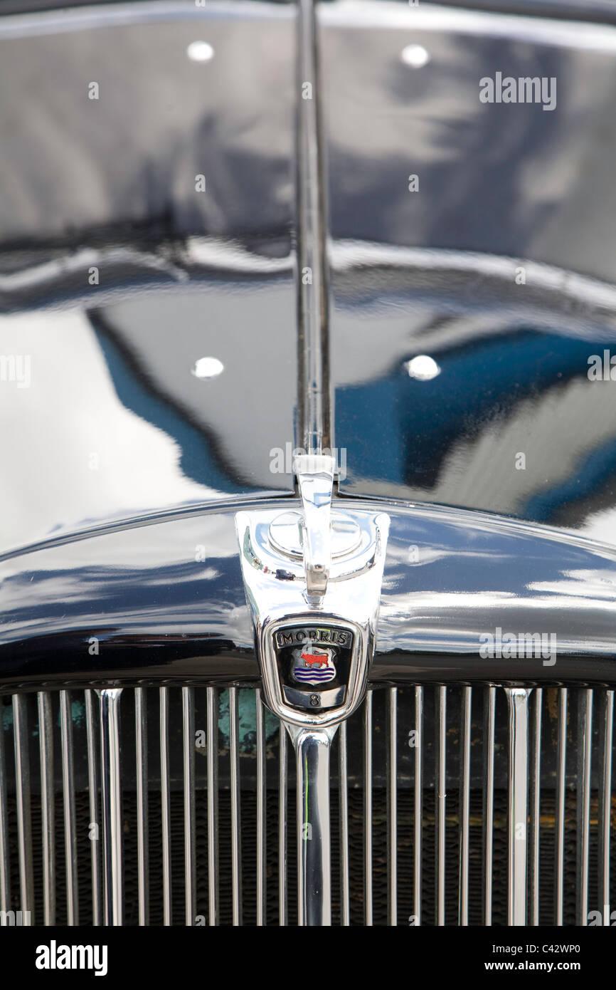 Detail of front of vintage Morris motor car. - Stock Image