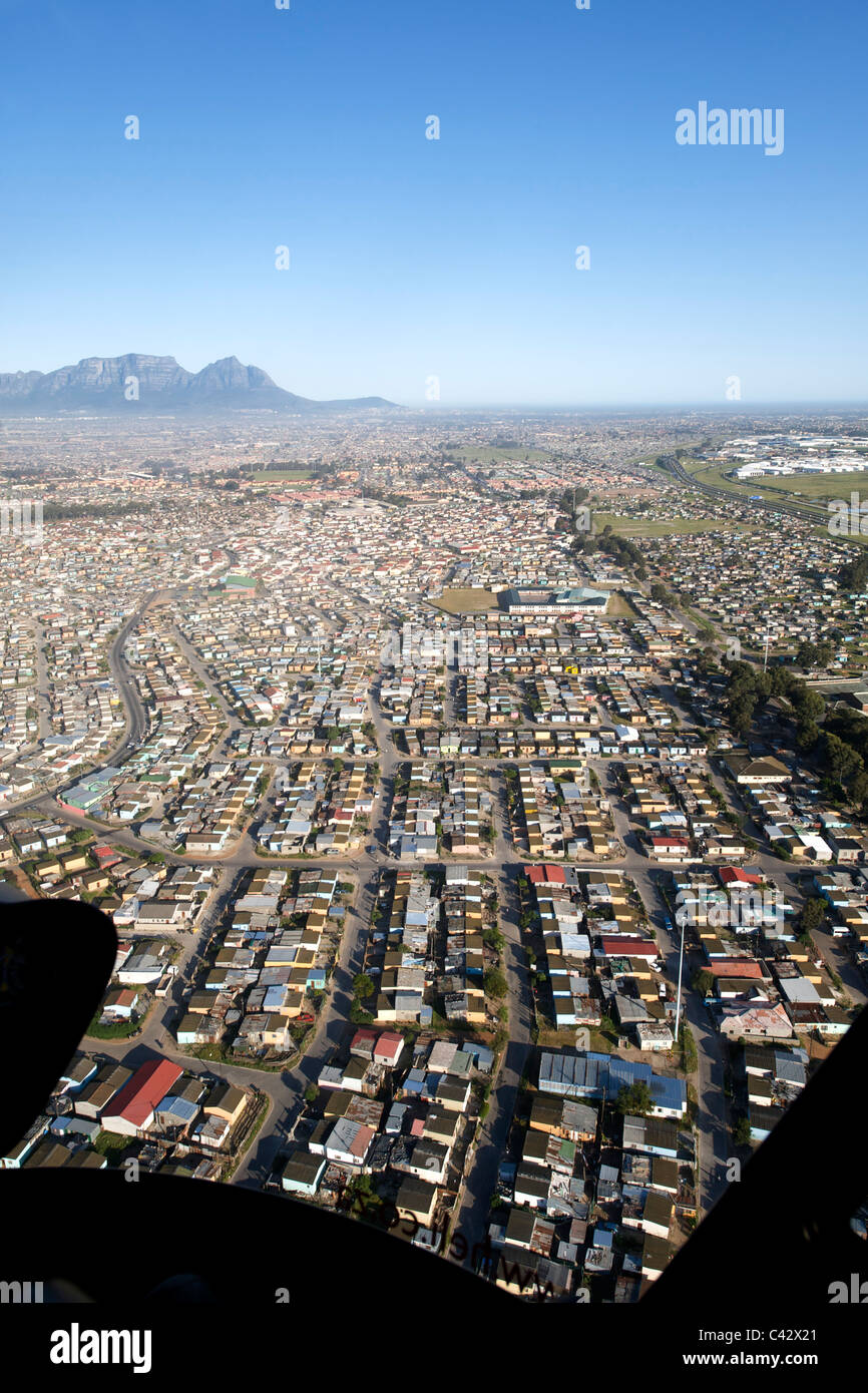 View over the houses of Crossroads near the airport in Cape Town, South Africa. - Stock Image