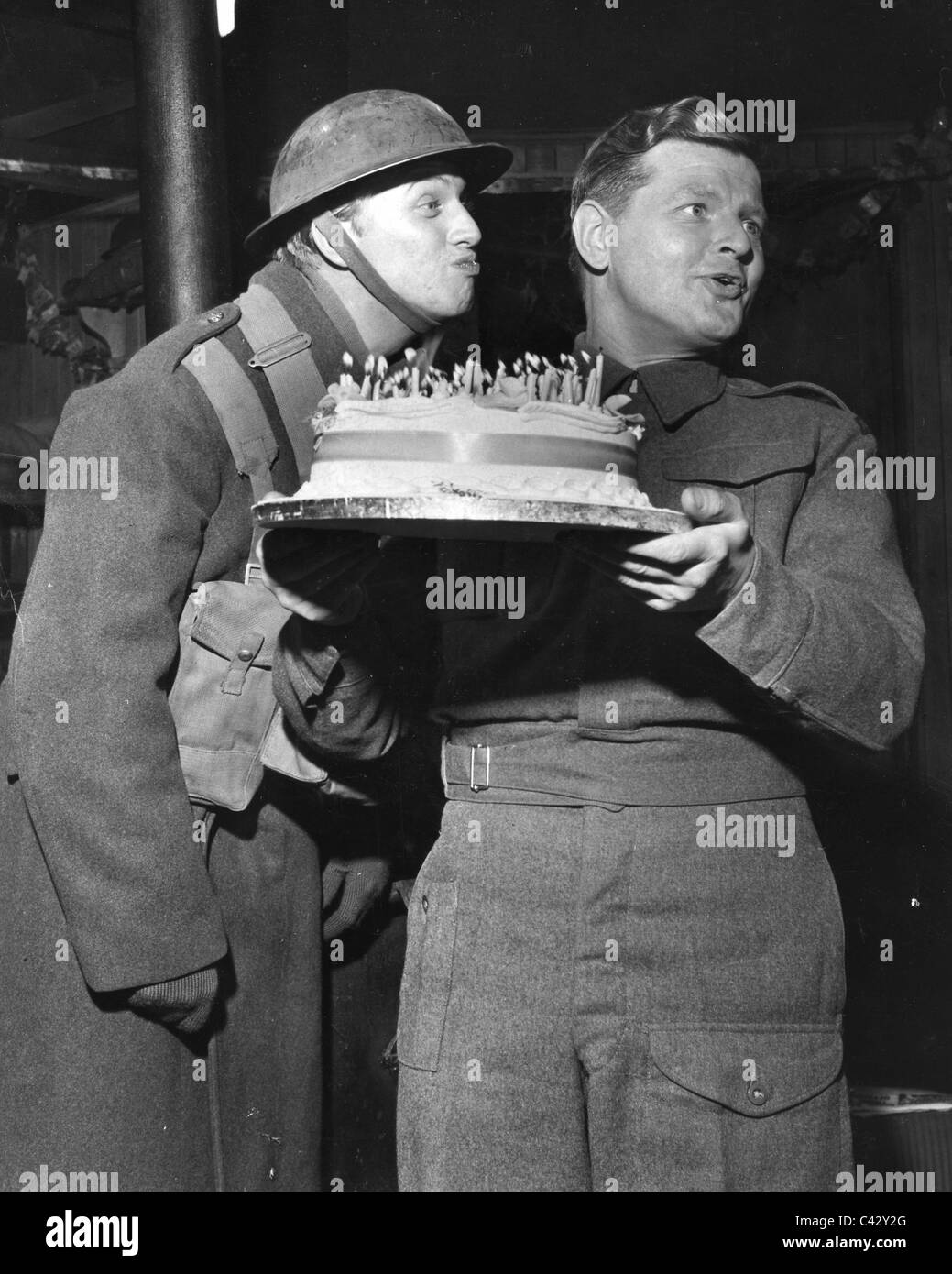 BENNY HILL Holds His 36th Birthday Cake On Set Of 1960 Film Light Up The Sky With Tommy Steele At Left