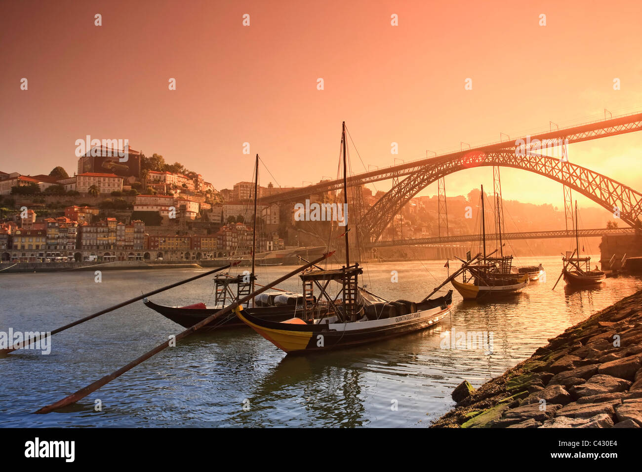 Porto Wine Carrying Barcos (Barges), River Douro and city skyline, Porto (UNESCO World Heritage), Portugal - Stock Image
