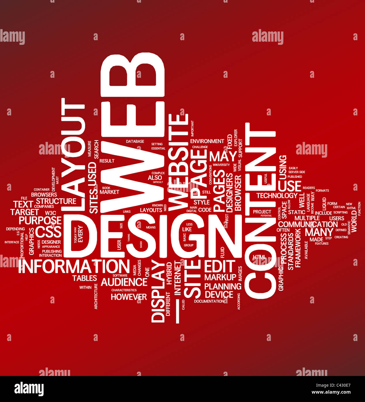 web design word collage on red background stock photo 36945615 alamy
