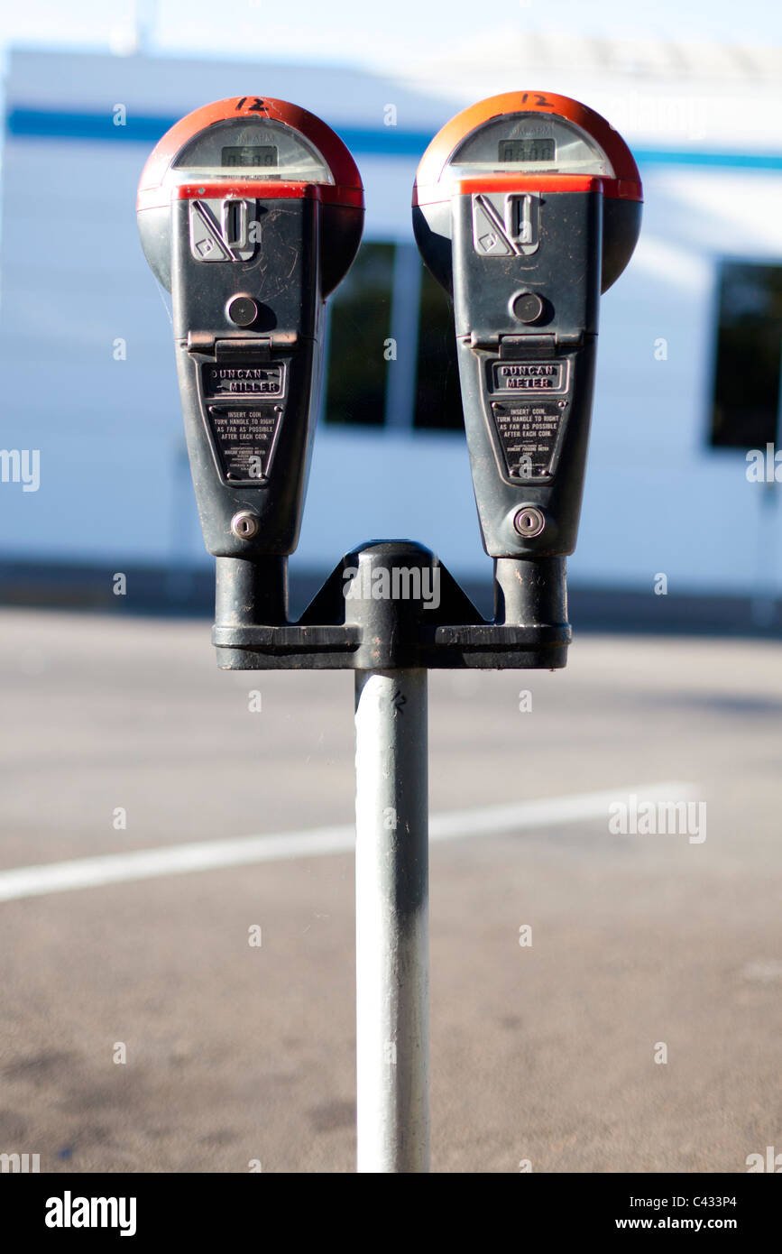 Double parking meter, Corvallis, OR - Stock Image