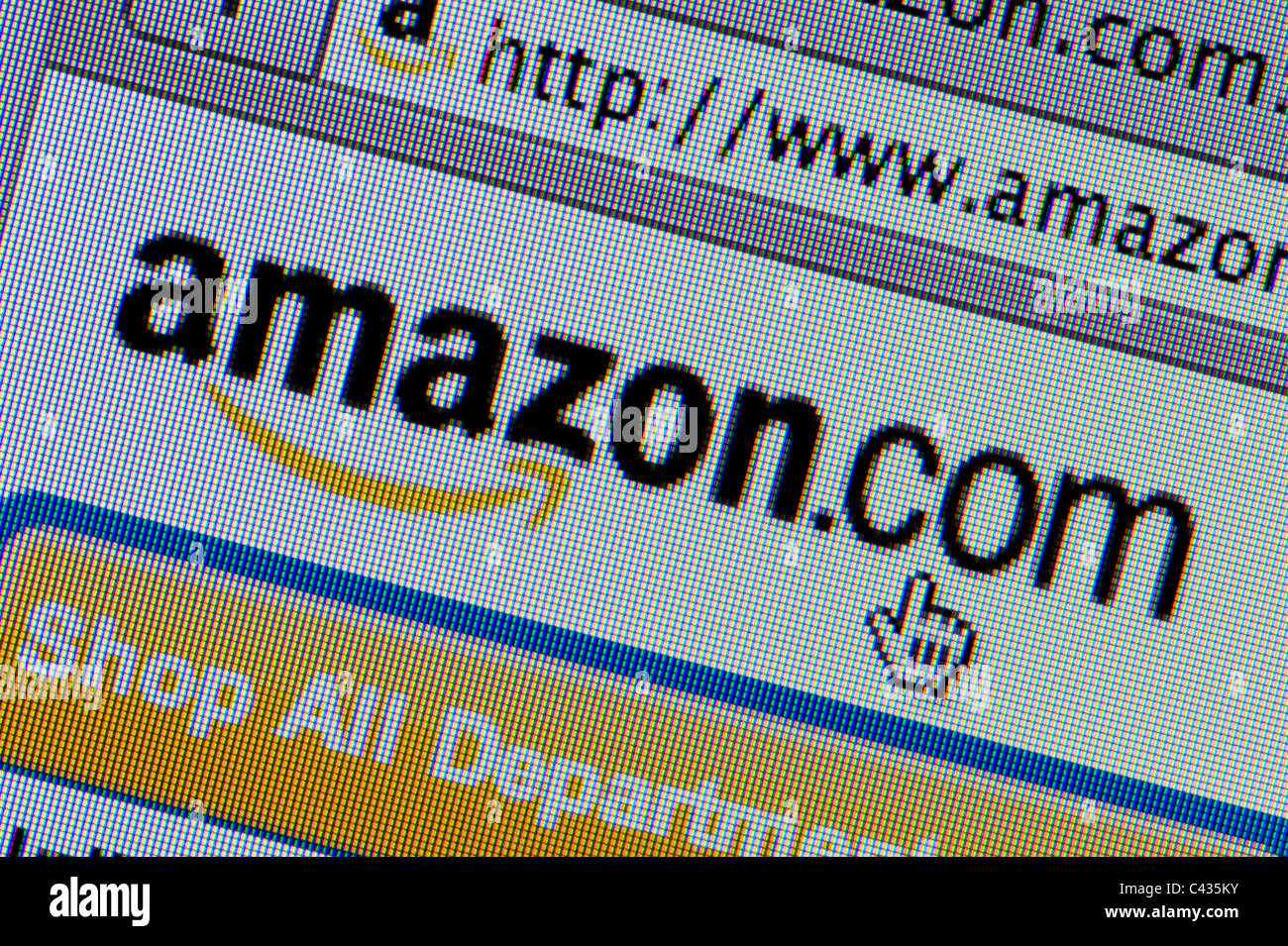 Close up of the Amazon logo as seen on its website. (Editorial use only: print, TV, e-book and editorial website). - Stock Image