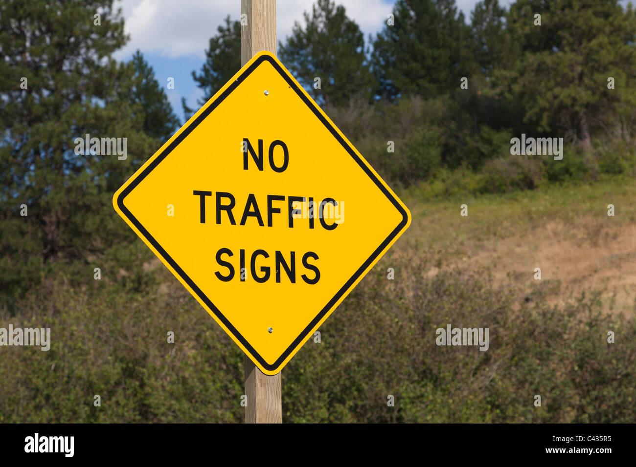 Sign for 'No Traffic Signs' Palouse Washington USA - Stock Image