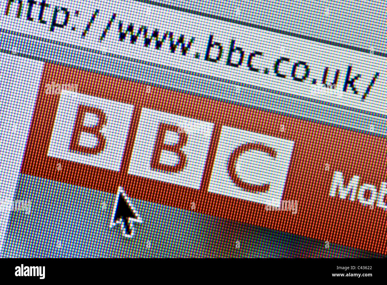 Close up of the BBC logo as seen on its website. (Editorial use only: ­print, TV, e-book and editorial website). Stock Photo