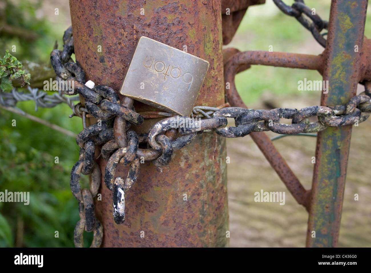 padlock rust gate field post chain farm lock weathered oxidise metal links close up brass secure fence wires - Stock Image
