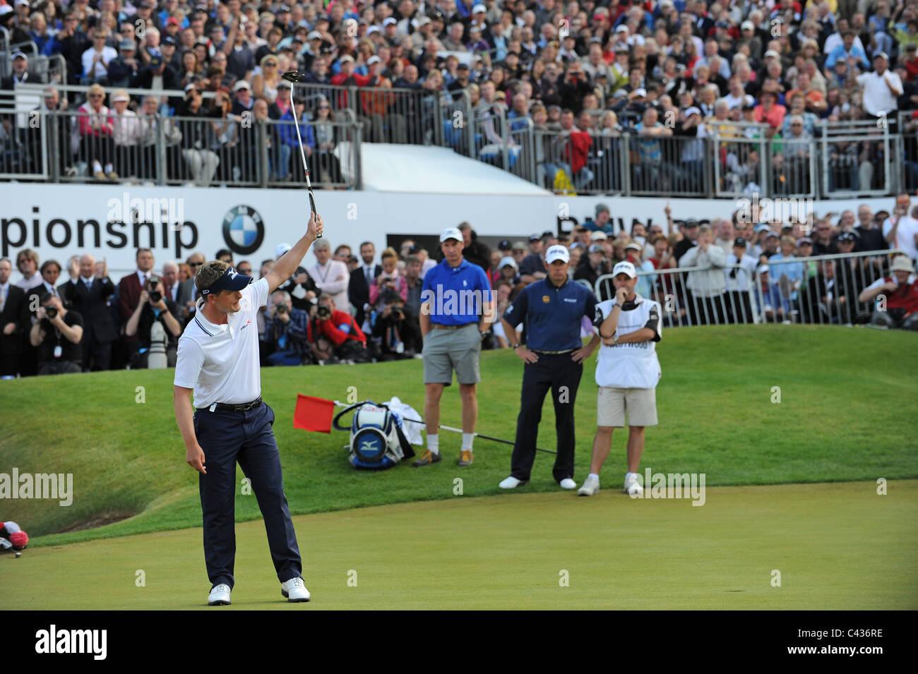 Golfer Luke Donald celebrates winning the 2011 BMW PGA Championships - Stock Image