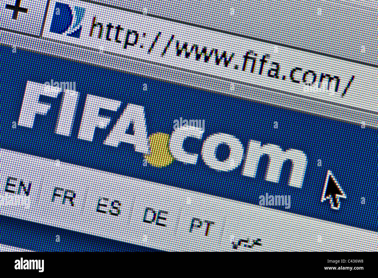 Close up of the FIFA logo as seen on its website. (Editorial use only: print, TV, e-book and editorial website). - Stock Image