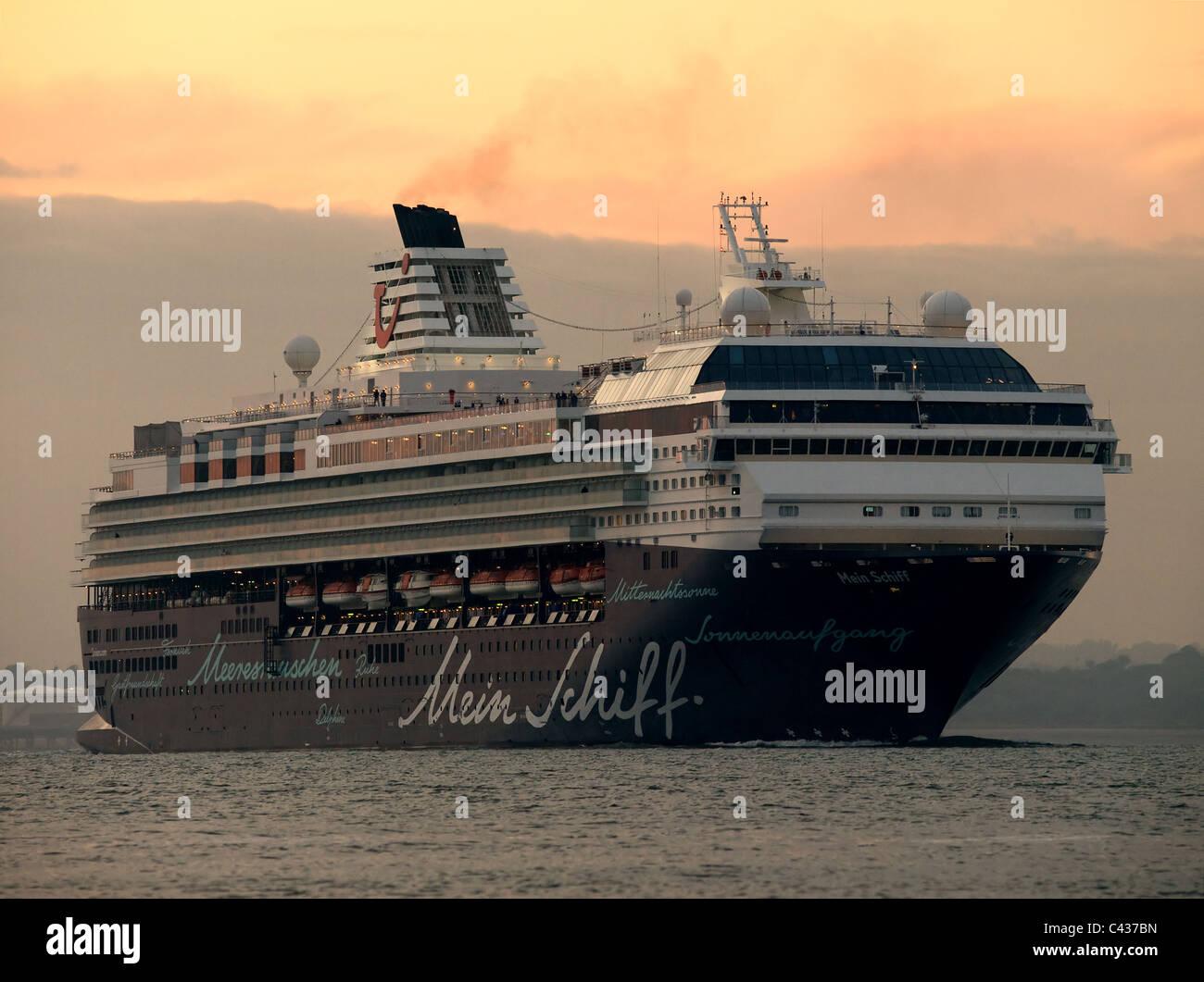 Cruise ship Mein Schiff leaving Southampton UK late evening - Stock Image