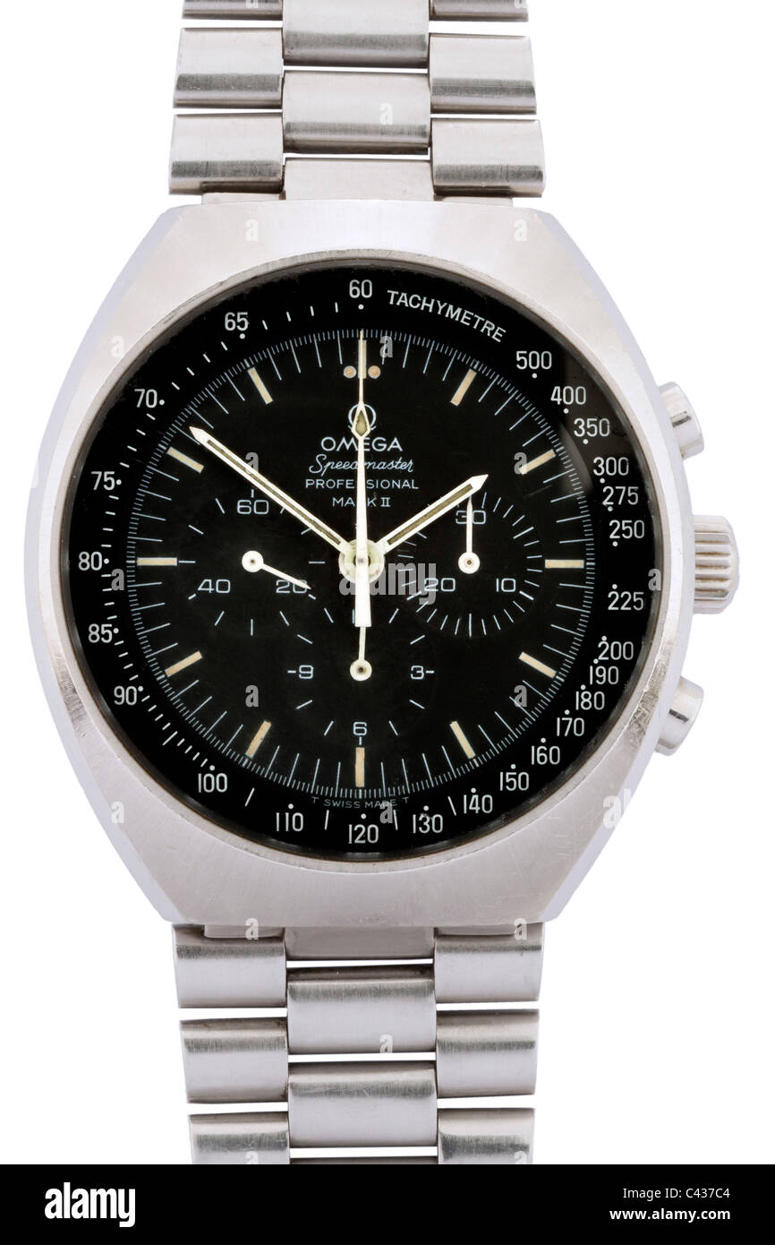 Omega Speedmaster Professional Mark II stainless steel Swiss chronograph wrist watch with black dial and white hands Stock Photo