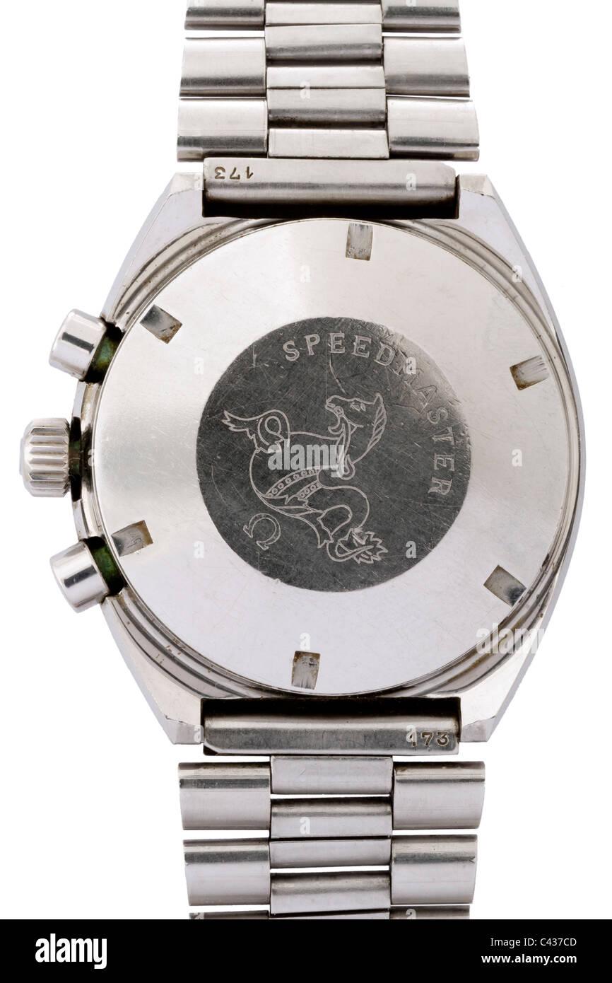 Back of Omega Speedmaster Professional Mark II stainless steel Swiss chronograph wrist watch JMH4891 - Stock Image