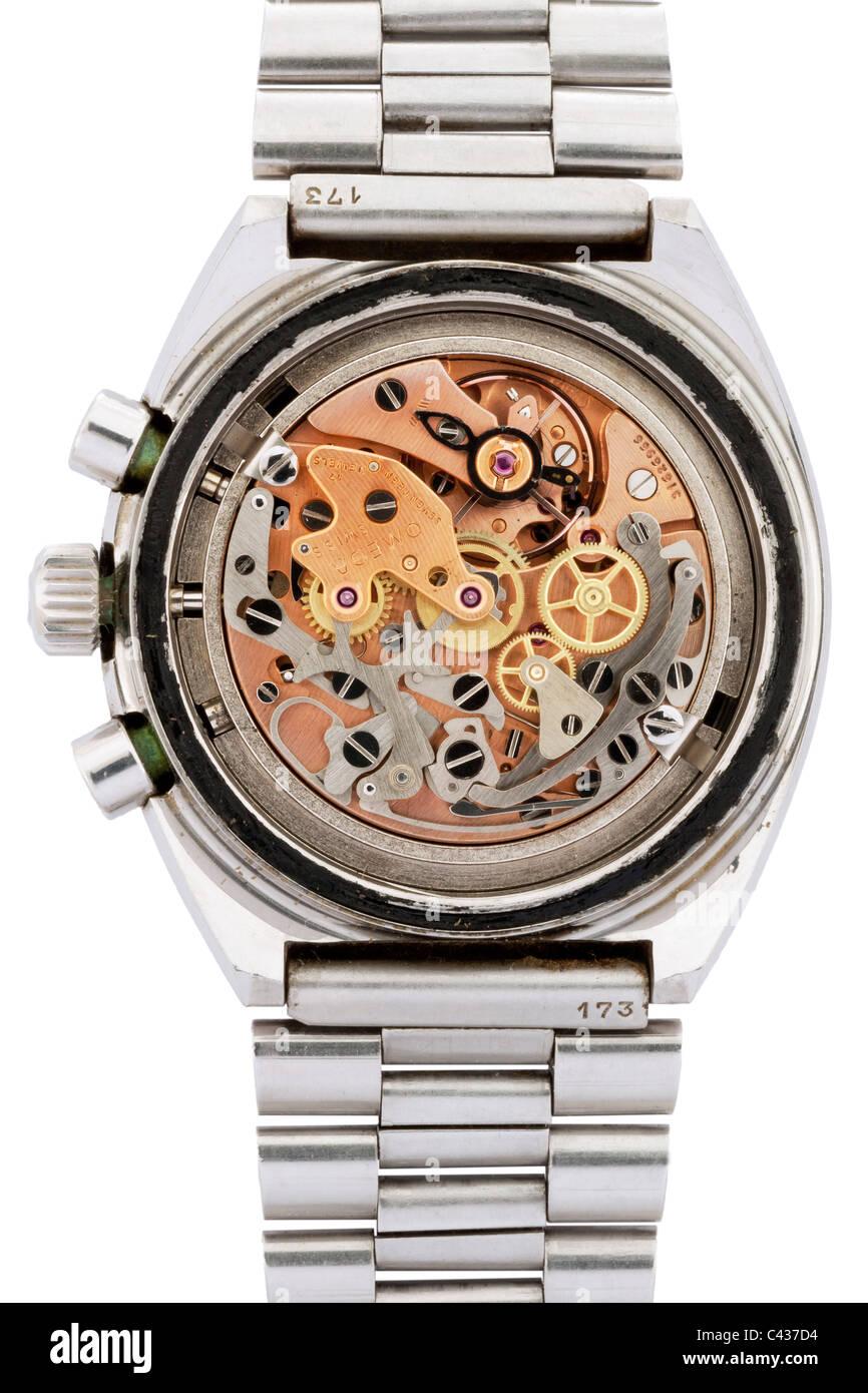 Interior works of Omega Speedmaster Professional Mark II stainless steel Swiss chronograph wrist watch  JMH4892 Stock Photo