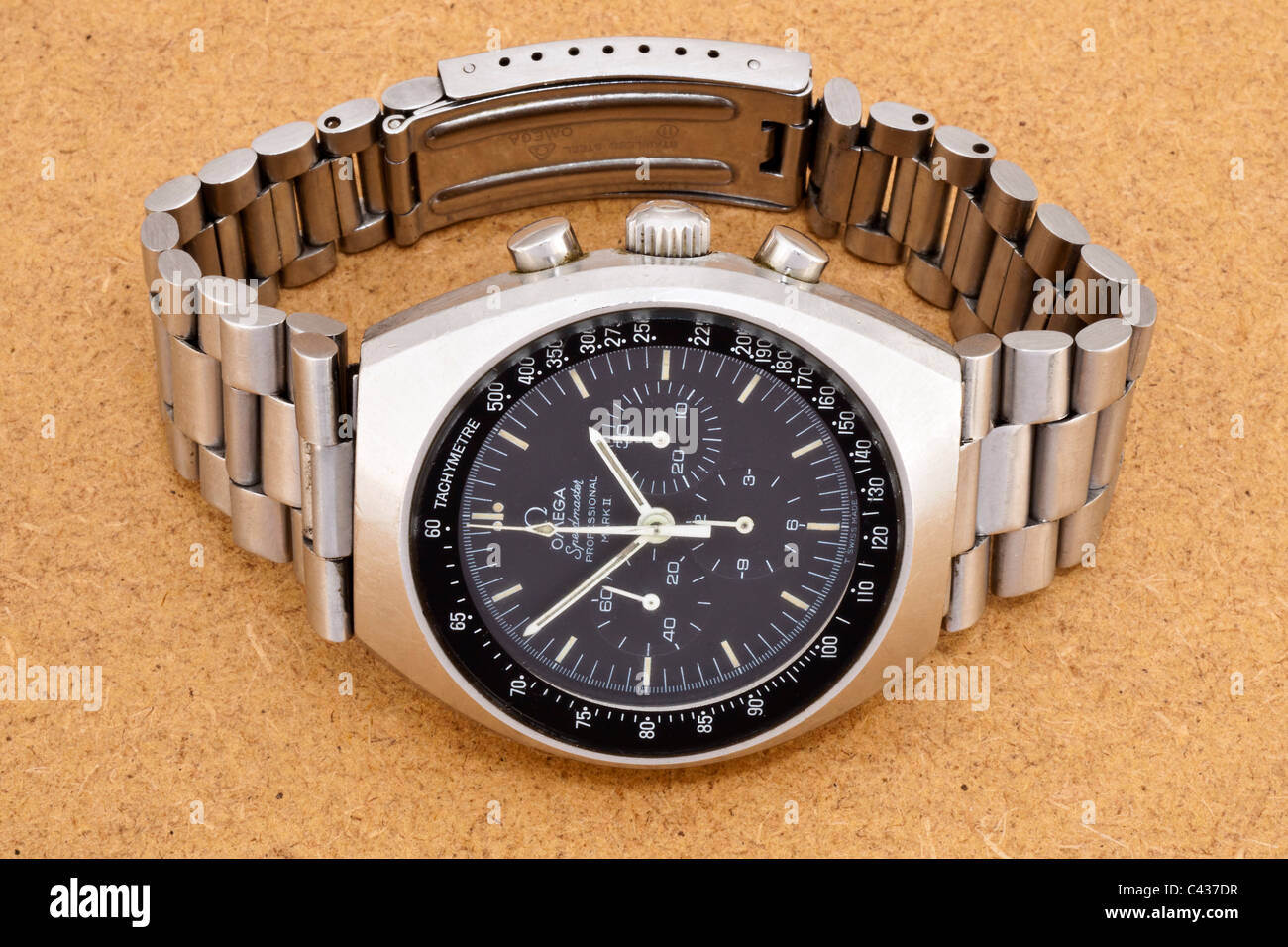Omega Speedmaster Professional Mark II stainless steel Swiss chronograph wrist watch with black dial and white hands - Stock Image