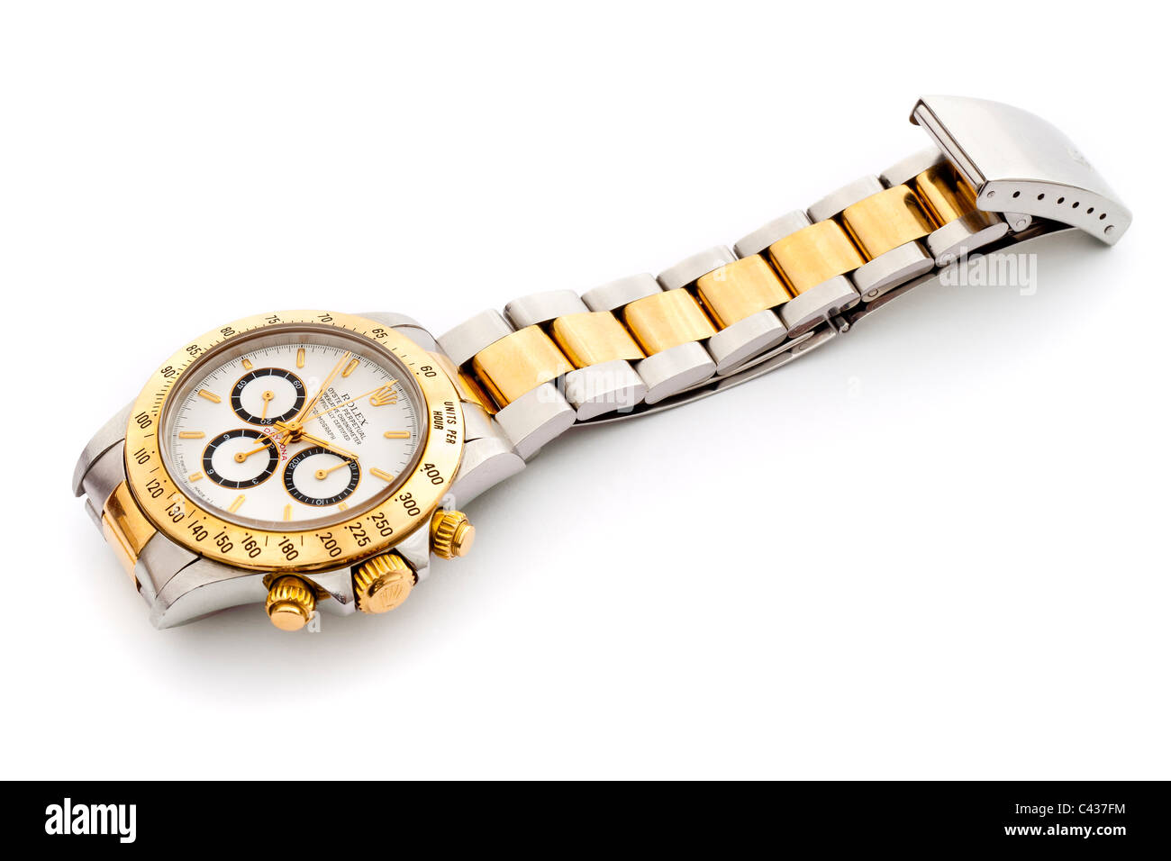 Rolex Daytona Cosmograph Oyster Perpetual Chronometer 18k gold and steel Swiss chronograph wrist watch with white - Stock Image