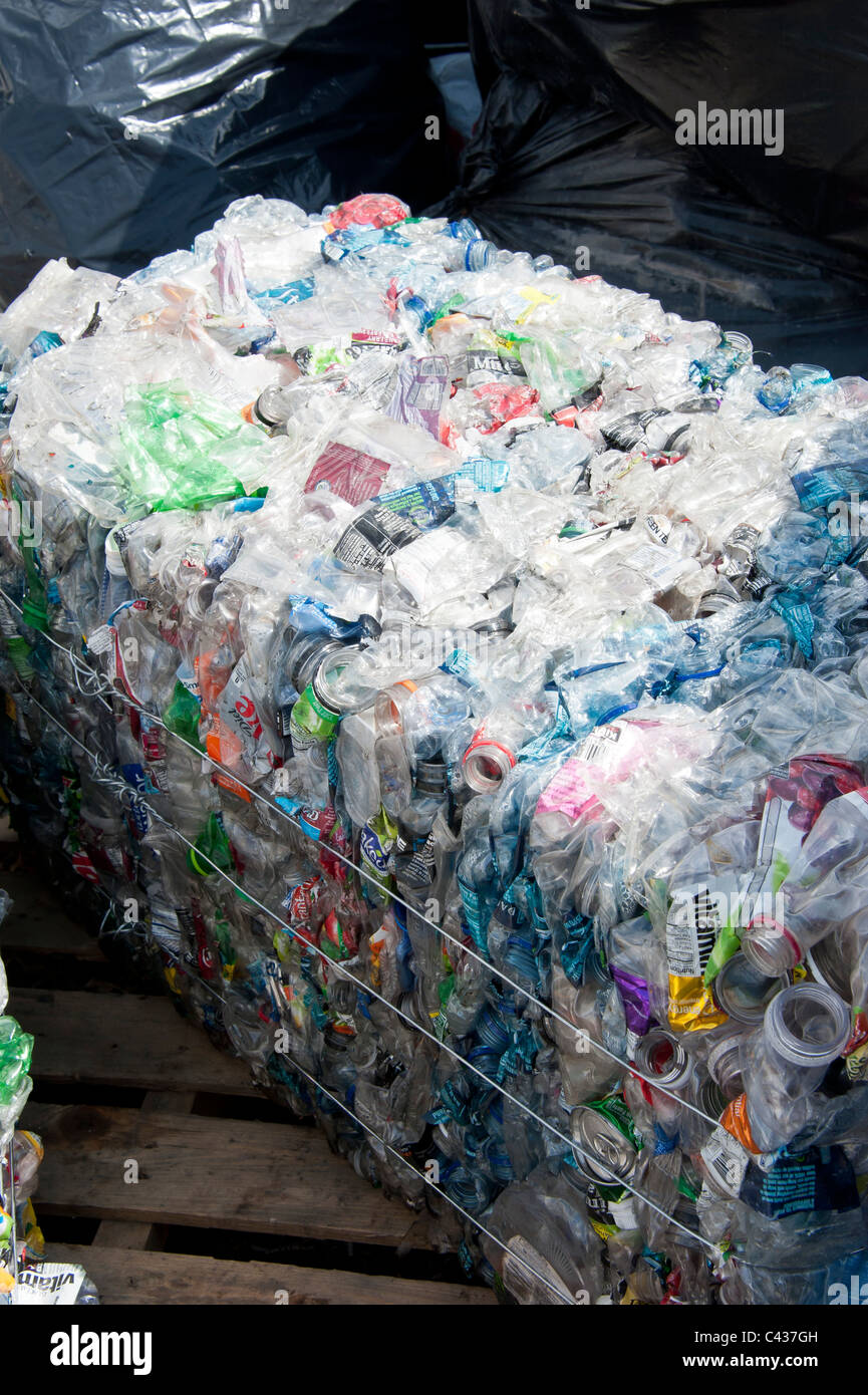Plastic bottles and other containers have been collected and packaged at the University of Montana, Missoula. - Stock Image