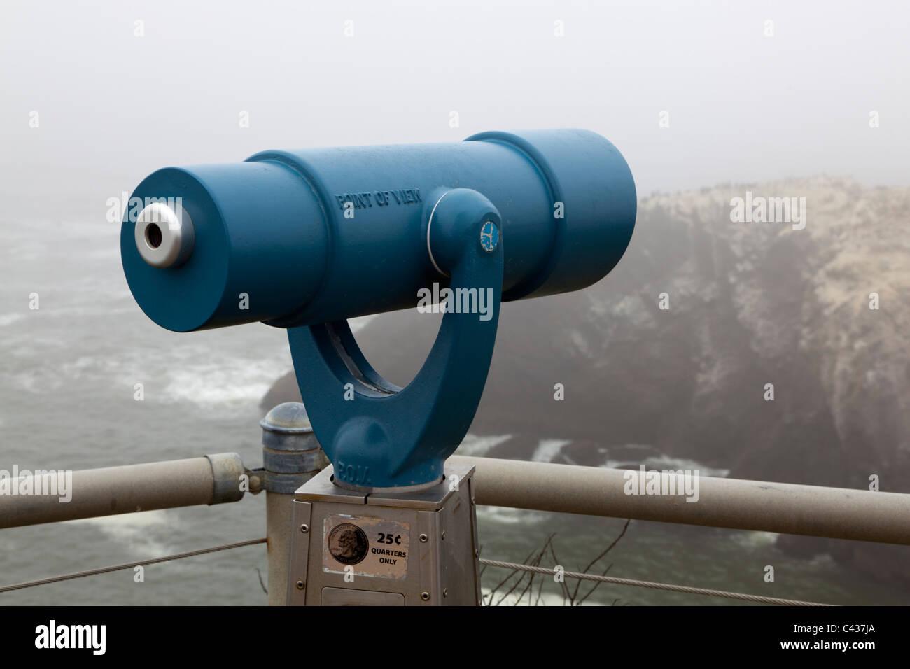 Telescope at  in Yaquina Head Lighthouse Oregon USA - Stock Image