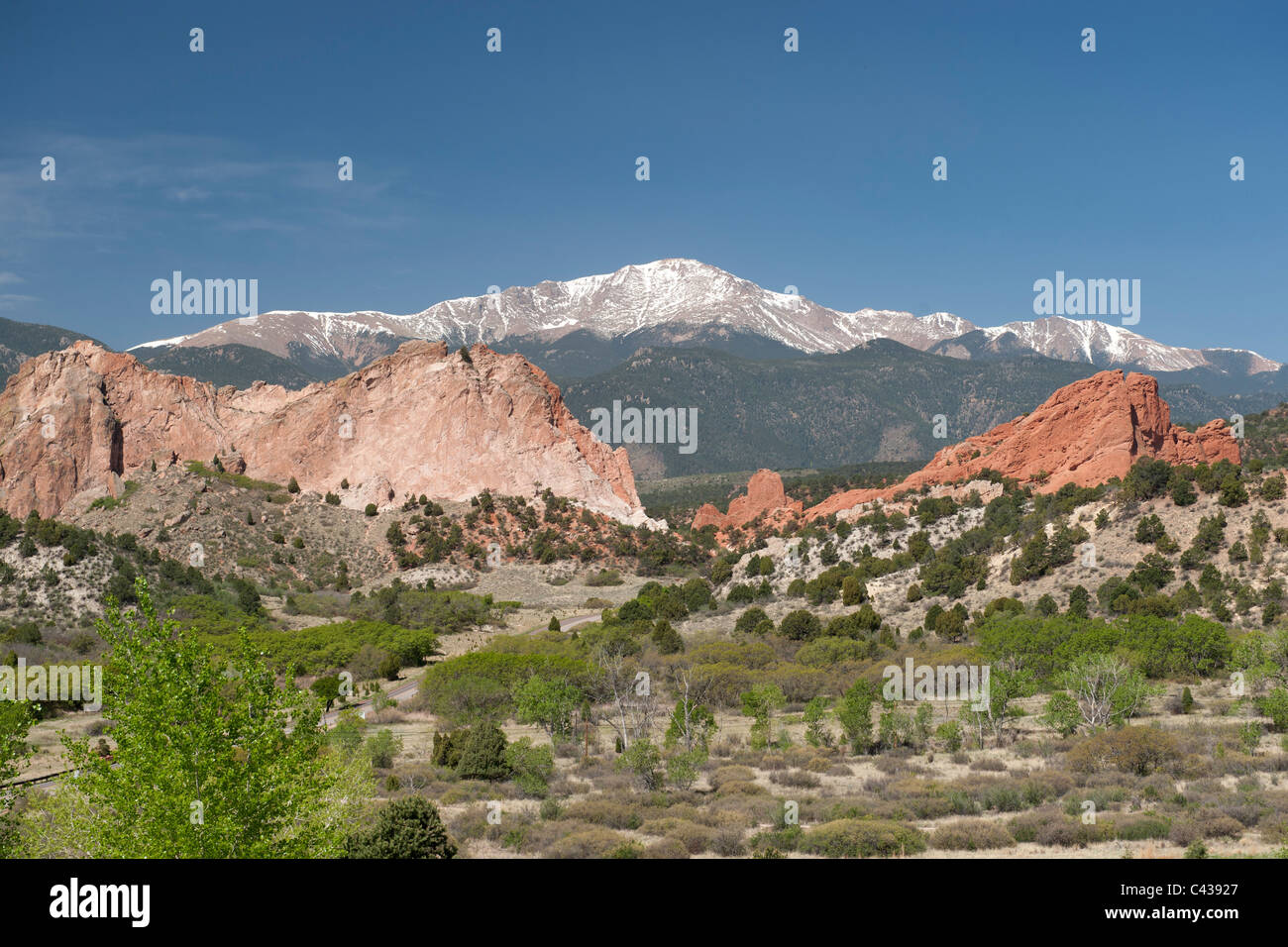 Pike's Peak and Garden of the Gods, in Colorado Springs, CO - Stock Image