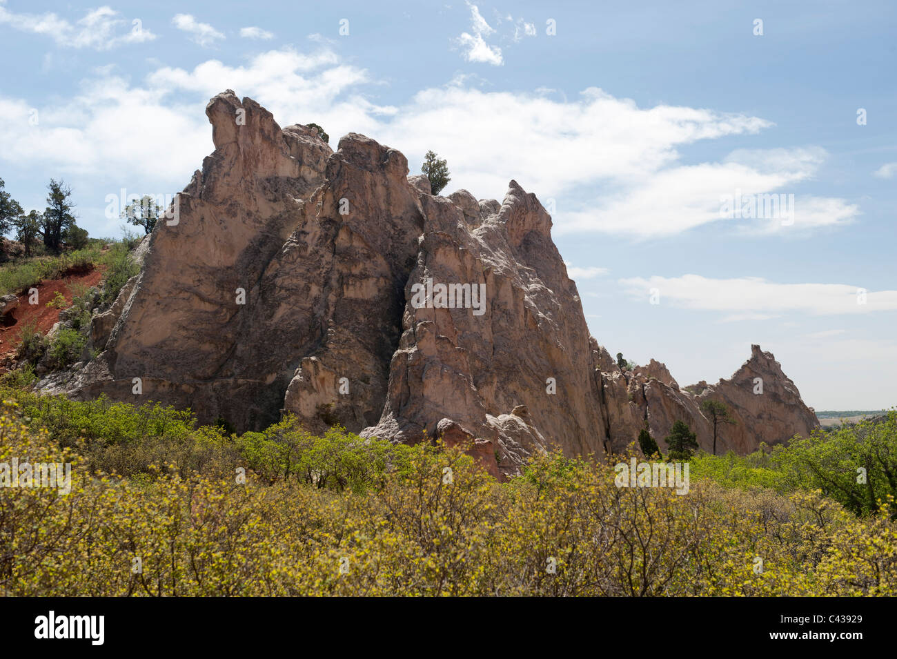 The feature known as White Rock, in the Garden of the Gods, Colorado Springs, CO Stock Photo