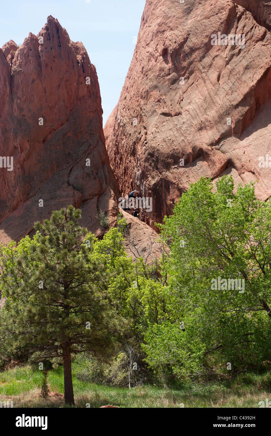 Rock-climbing lesson, Garden of the Gods, Colorado Springs CO - Stock Image