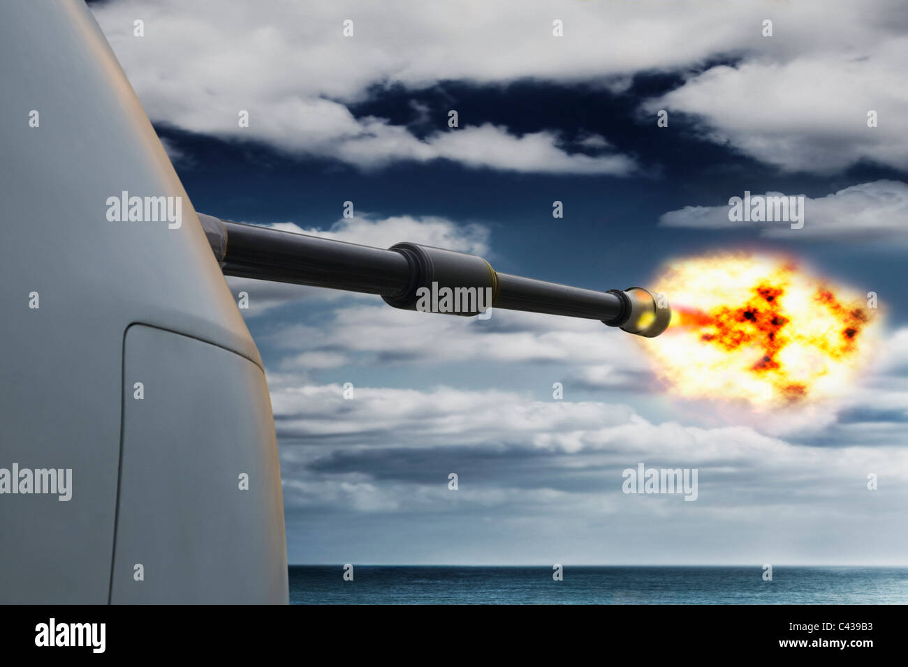 digitally enhanced,,Royal navy 4.5 inch MK 8 Gun firing - Stock Image
