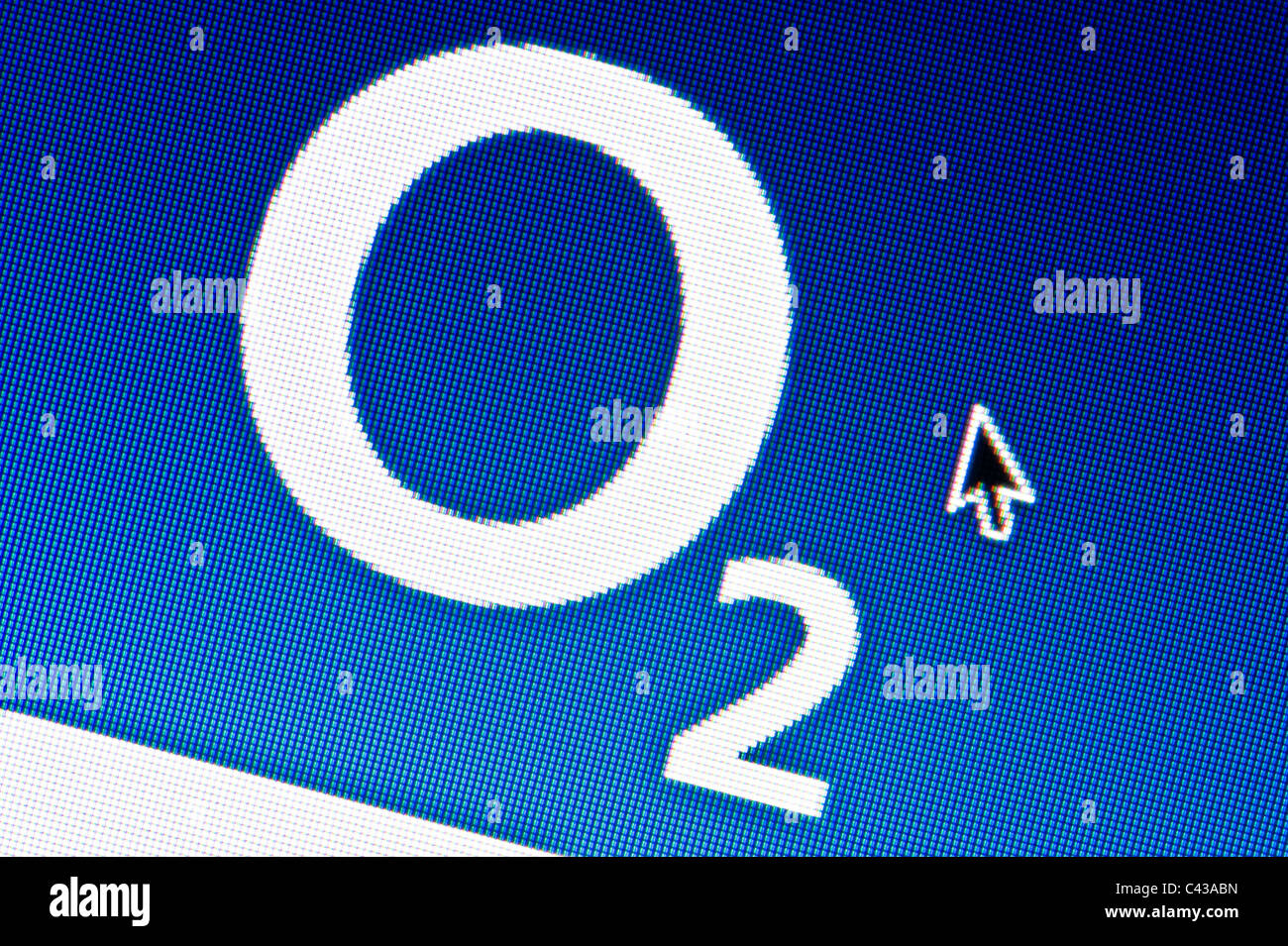 Close up of the O2 logo as seen on its website. (Editorial use only: print, TV, e-book and editorial website). Stock Photo