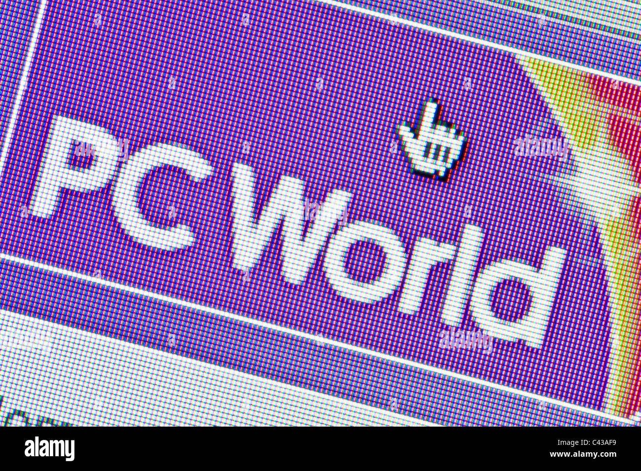 Close up of the PC World logo as seen on its website. (Editorial use only: print, TV, e-book and editorial - Stock Image