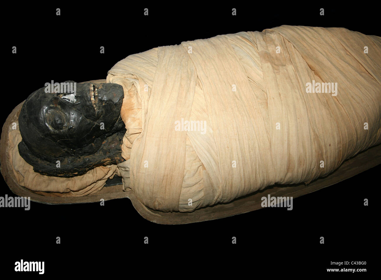 Egyptian Mummy Of Padiamun, Sailor Of The Bark Of Amun, Wrapped In Linen Cloth - Stock Image