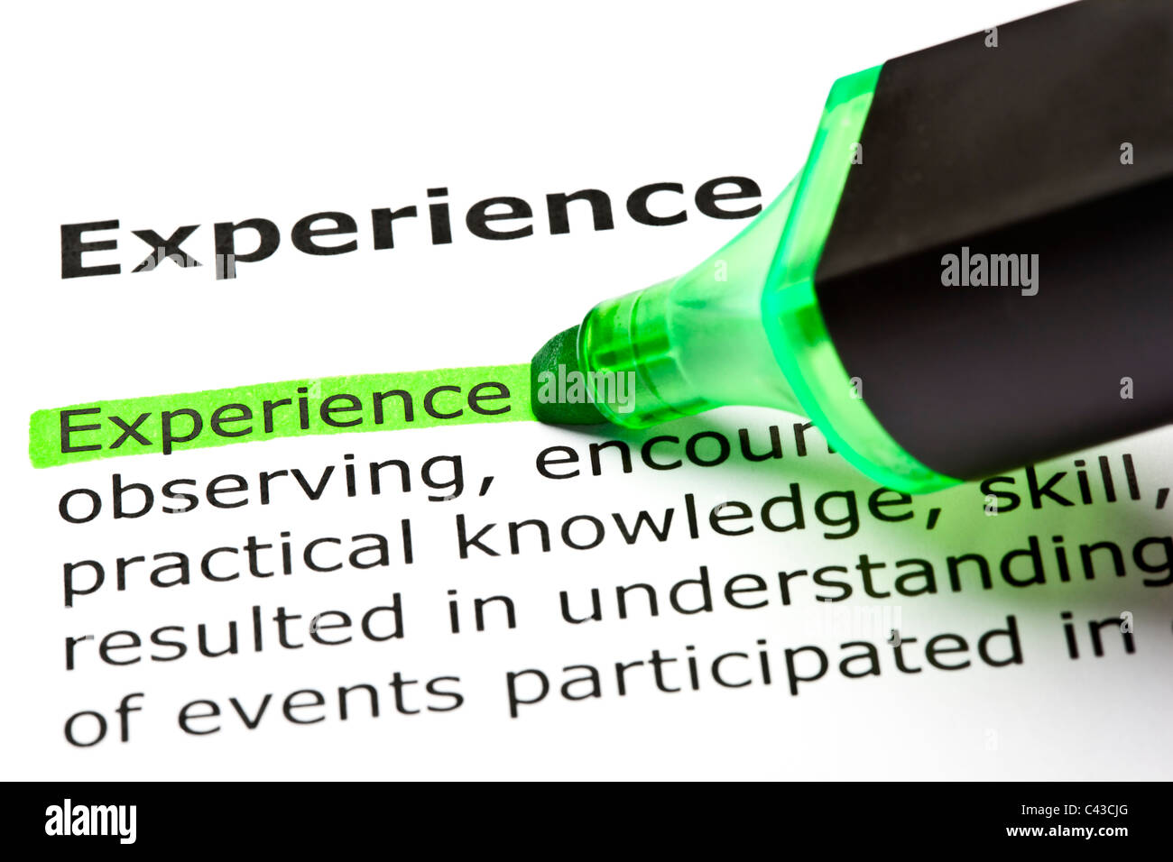 The word 'Experience' highlighted in green with felt tip pen - Stock Image