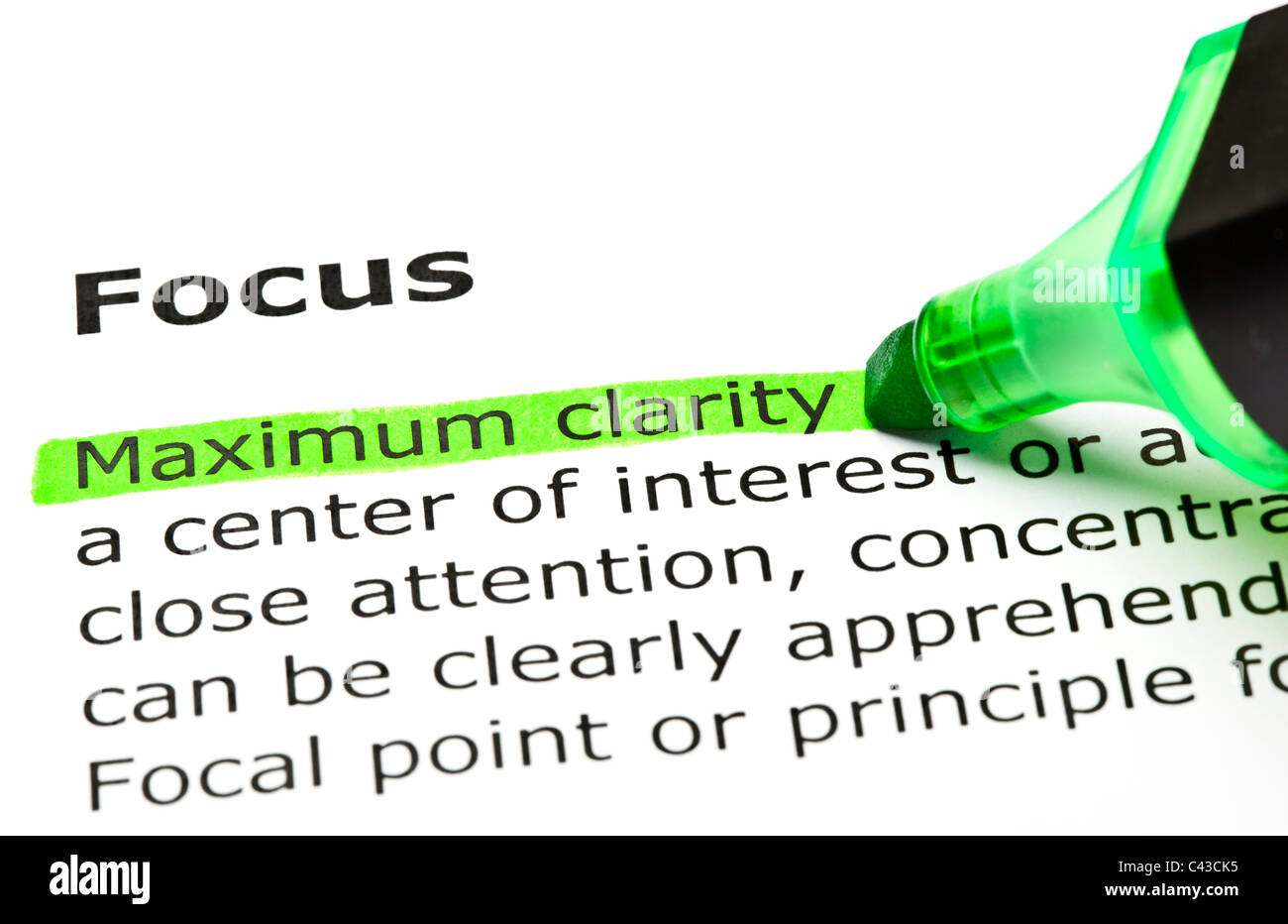 'Maximum clarity' highlighted in green, under the heading 'Focus' - Stock Image