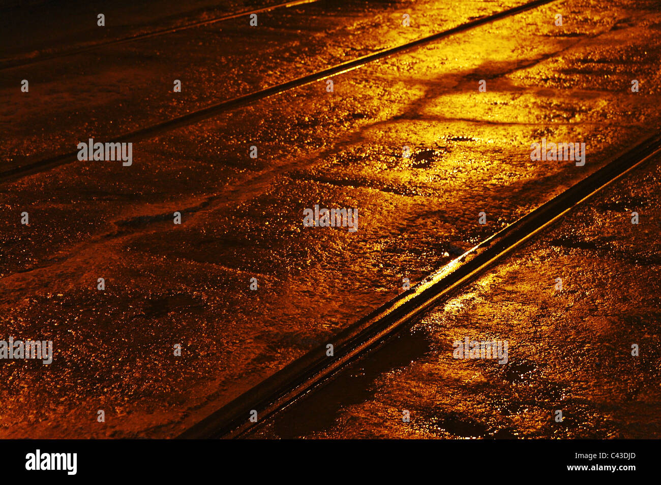 Tram rails in the shined tunnel, Moscow, Russia Stock Photo