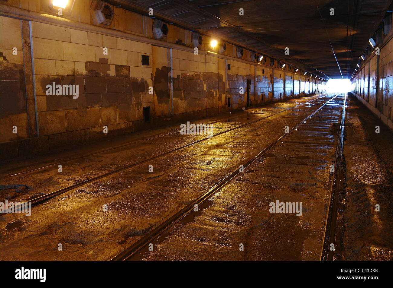 Tram rails in the shined tunnel, Moscow, Russia - Stock Image