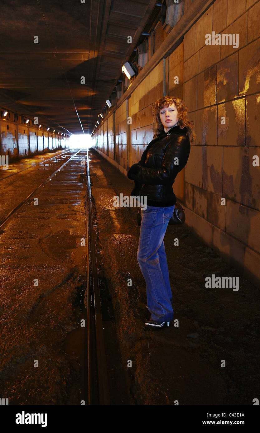 The girl in the shined tunnel, Moscow, Russia - Stock Image