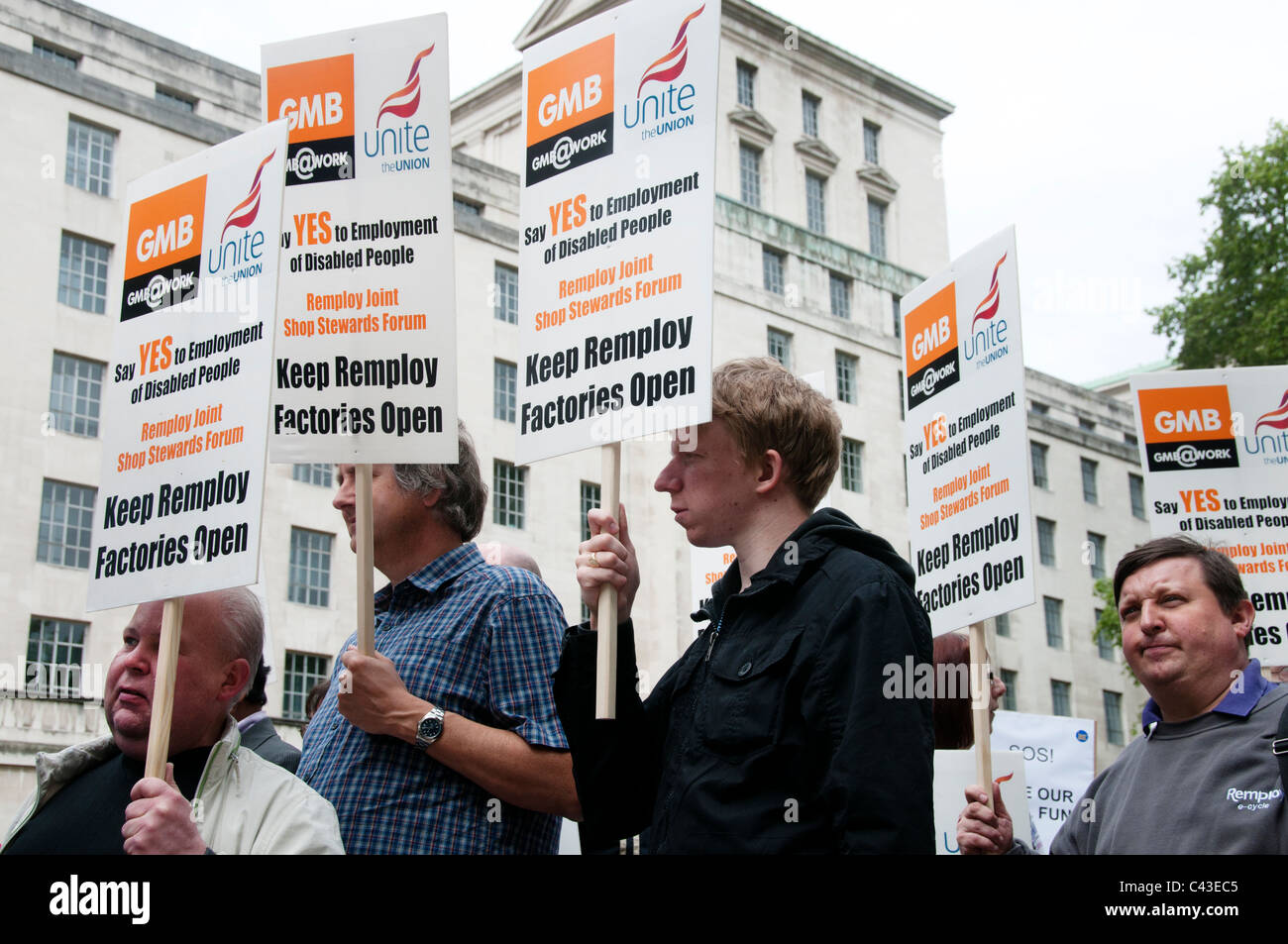 Hardest hit demonstration against government cuts to services to people with disabilities. Workers from Remploy. - Stock Image