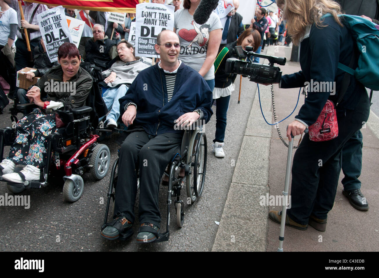 Hardest Hit demonstration  against government cuts to services to people with disabilities. May11, - Stock Image