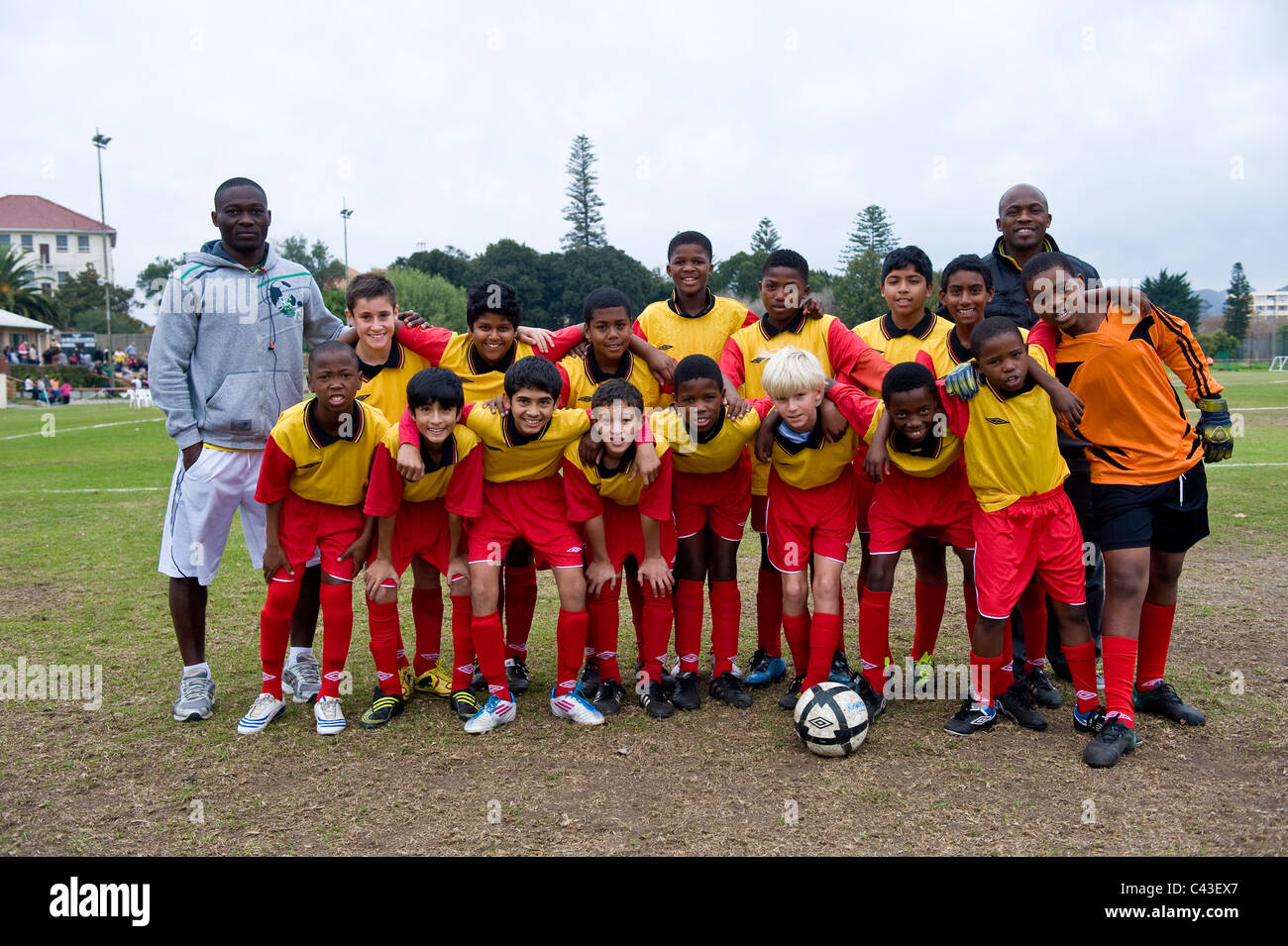 Under 13 A Football team of FC Rygersdal, Cape Town, South Africa - Stock Image