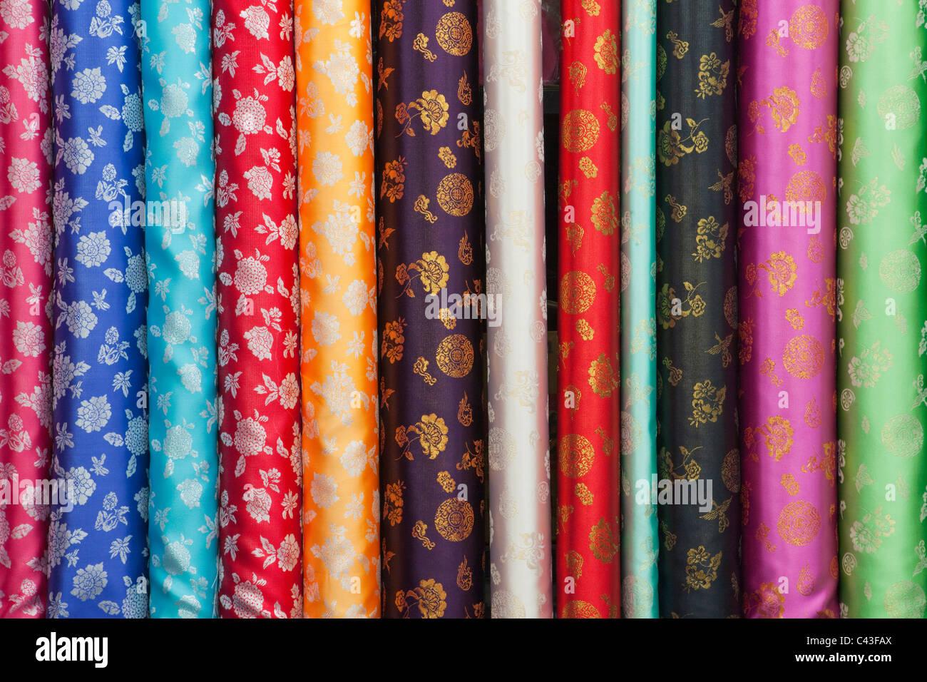 Asia, Korea, Seoul, Dongdaemun Market, Fabric Shop, Fabric, Material, Silk, Silks, Shop, Shopping, Market, Markets, Tourism, Tra Stock Photo