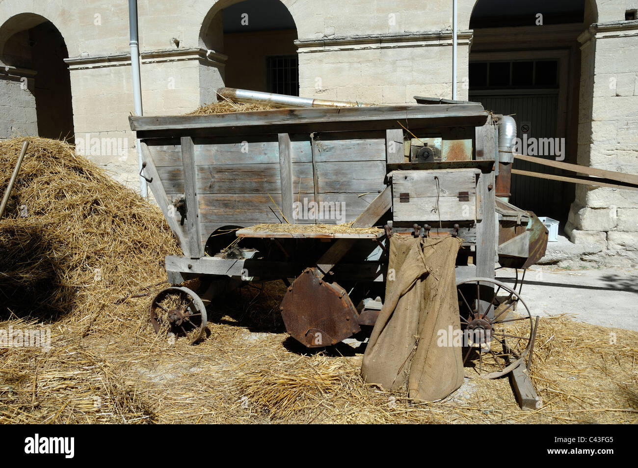Vintage, Old or Antique Wooden Threshing Machine Provence France - Stock Image