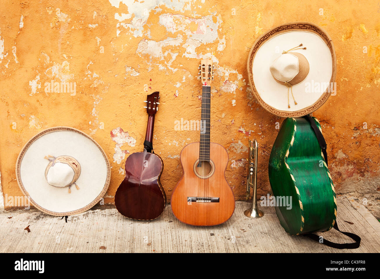 Mexican instruments and sombreros. - Stock Image