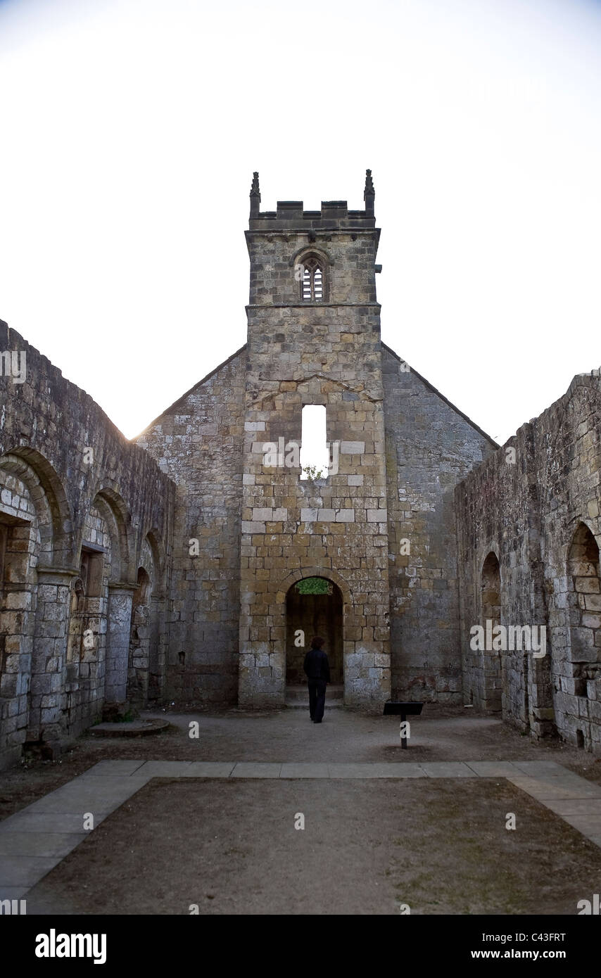 St. Martin's Church at Wharram Percy, Deserted Medieval Village, North Yorkshire, UK - Stock Image