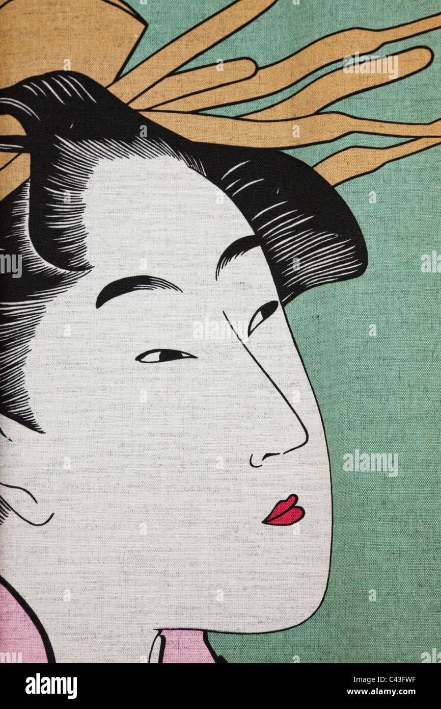 Asia, Japan, Honshu, Kyoto, Ukiyo-e, Painting, Geisha, Geishas, Tourism, Travel, Holiday, Vacation - Stock Image