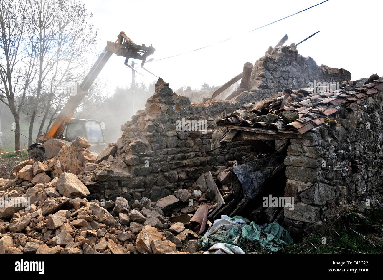 house demolition Chaméane Auvergne France - Stock Image