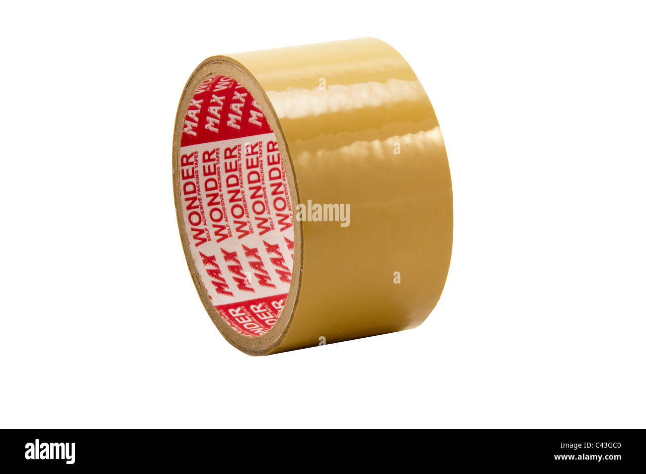 Brown parcel tape in white background, cutout - Stock Image