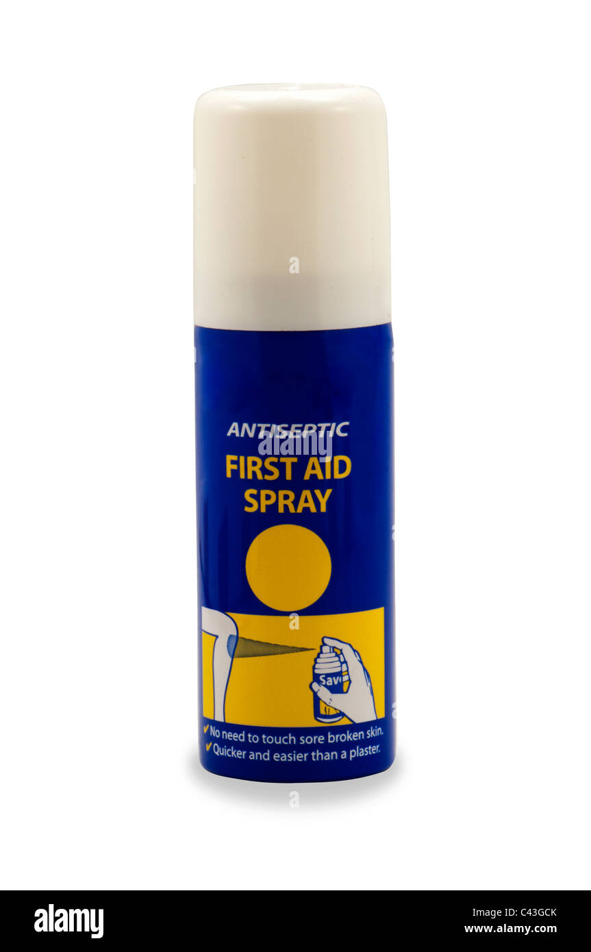 First aid spray antiseptic pain itching relief in white background - Stock Image