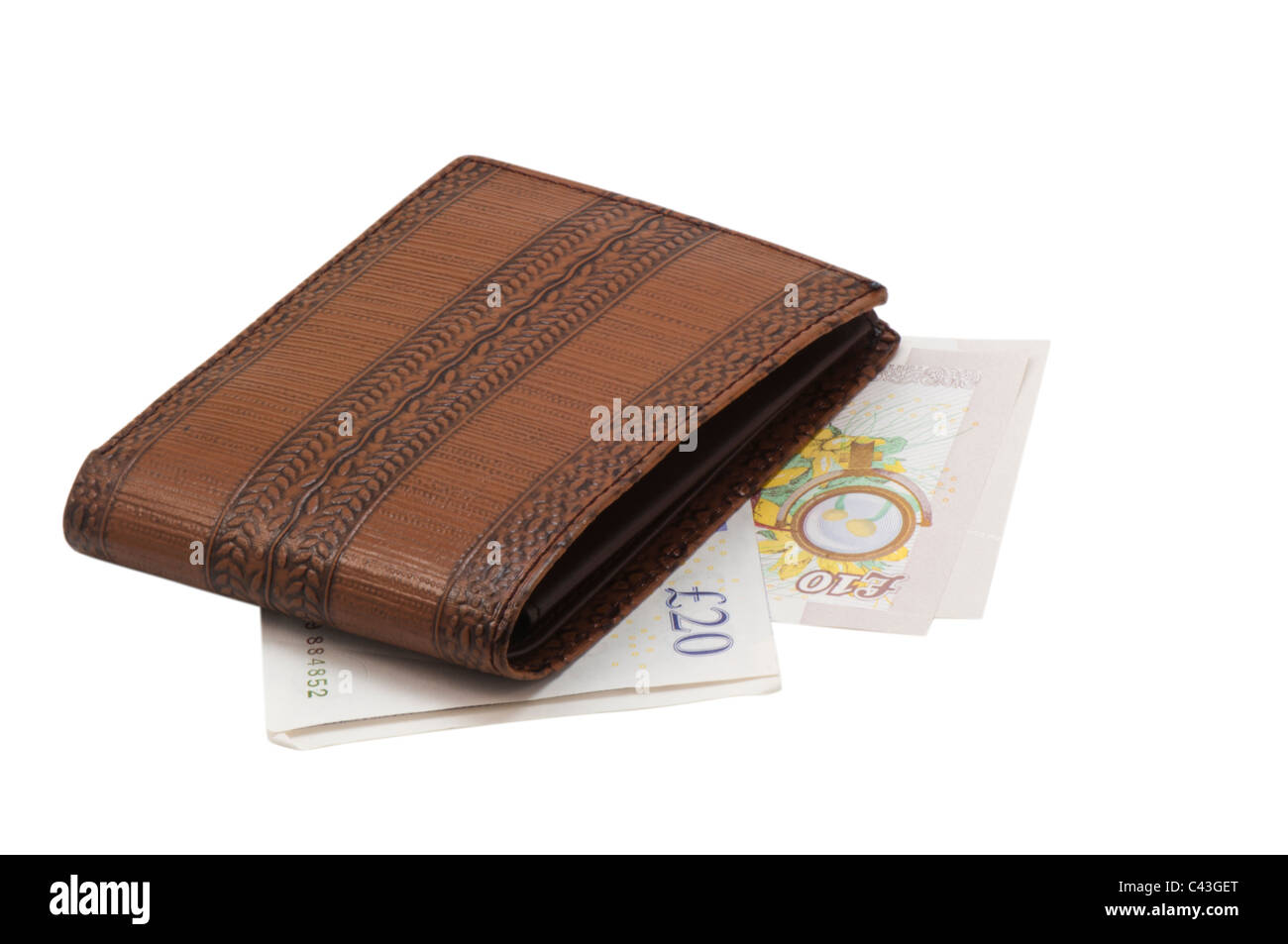 Currency notes and wallet - Stock Image