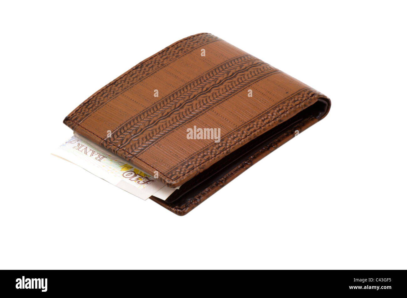 Bank notes in wallet, Uk - Stock Image